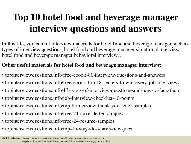 Great Top 10 Hotel Food And Beverage Manager Interview Questions And Answers In  This File, ... Intended For Hotel Interview Questions