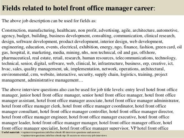 hotel front desk manager job description