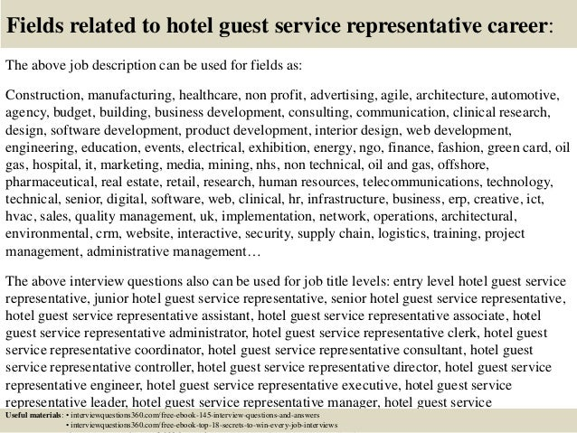 18 fields related to hotel guest service