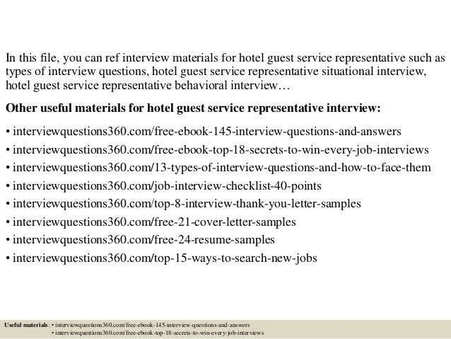 top 10 hotel guest service representative interview questions and answers. Resume Example. Resume CV Cover Letter