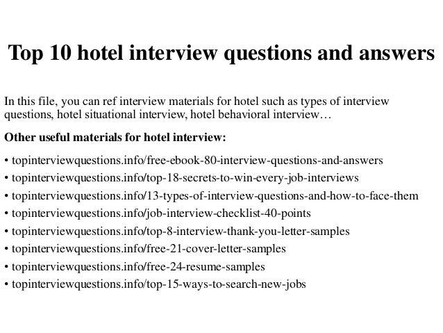 Marvelous Top 10 Hotel Interview Questions And Answers In This File, You Can Ref  Interview Materials ... Inside Hotel Interview Questions