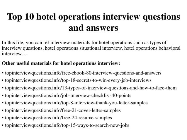 Top 10 Hotel Operations Interview Questions And Answers