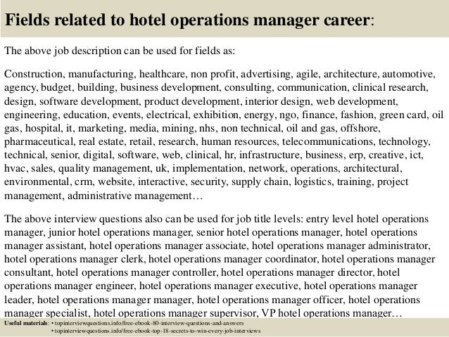 operations managers job description