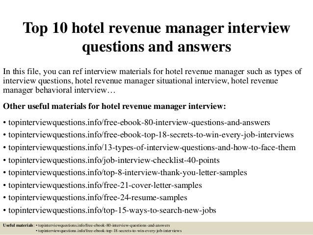 top 10 hotel revenue manager interview questions and answers