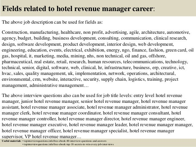 revenue manager cover letter