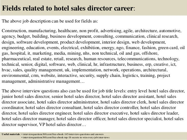 Top  Hotel Sales Director Interview Questions And Answers