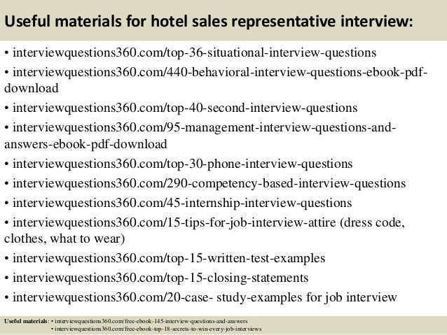 Top 10 hotel sales representative interview questions and answers