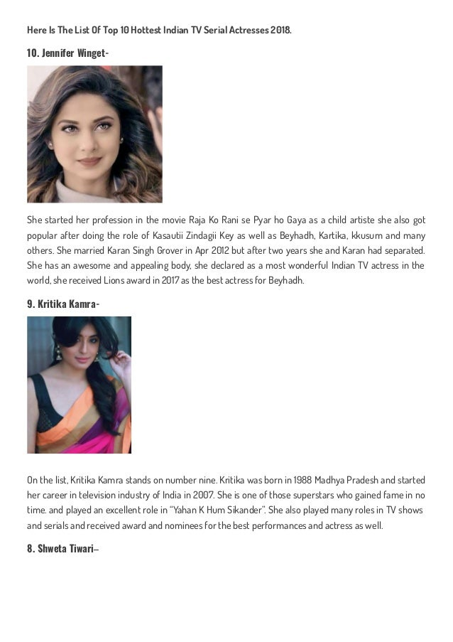 Top 10 hottest indian tv serial actresses in 2018