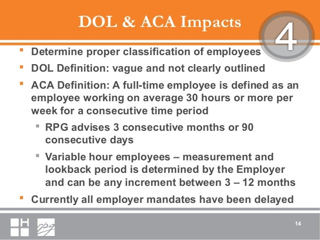 DOL & ACA Impacts  Determine proper classification of employees  DOL Definition: vague and not clearly outlined  ACA De...