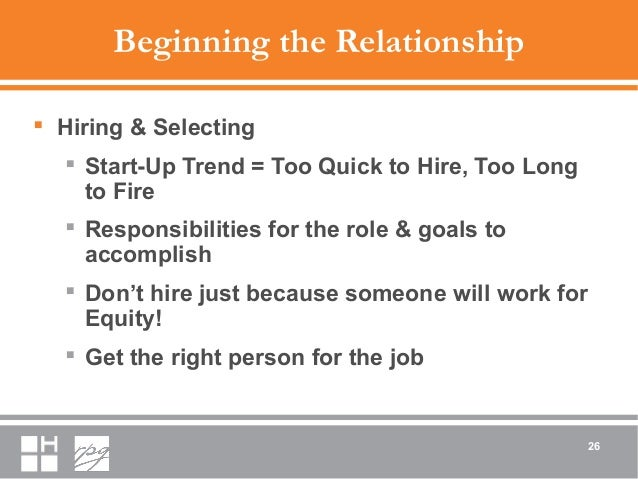 Beginning the Relationship  Hiring & Selecting  Start-Up Trend = Too Quick to Hire, Too Long to Fire  Responsibilities ...
