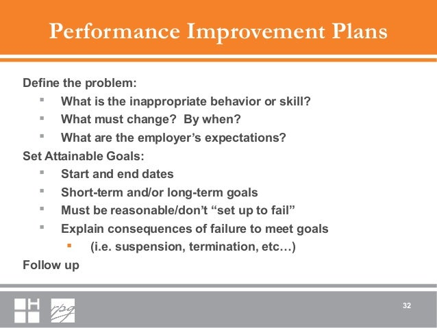 Performance Improvement Plans Define the problem:  What is the inappropriate behavior or skill?  What must change? By wh...