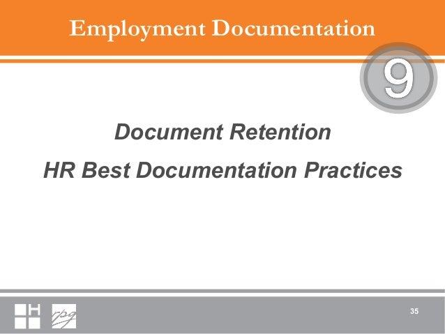 Employment Documentation Document Retention HR Best Documentation Practices 35