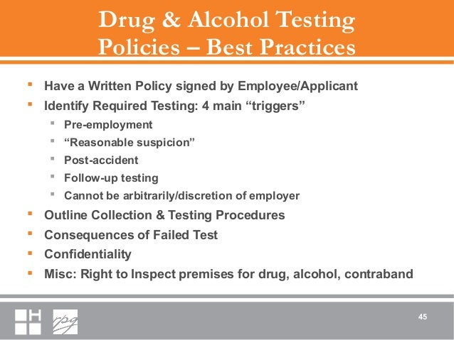 Drug & Alcohol Testing Policies – Best Practices  Have a Written Policy signed by Employee/Applicant  Identify Required ...