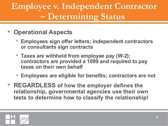 Employee v. Independent Contractor – Determining Status  Operational Aspects  Employees sign offer letters; independent ...