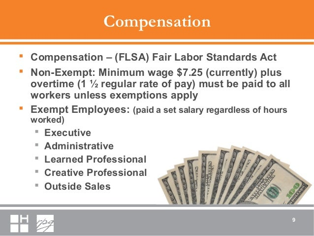 Compensation  Compensation – (FLSA) Fair Labor Standards Act  Non-Exempt: Minimum wage $7.25 (currently) plus overtime (...