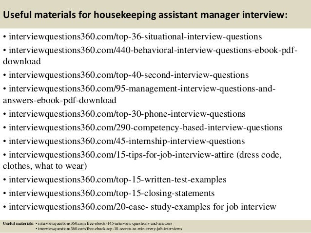 Top 10 housekeeping assistant manager interview questions and answers