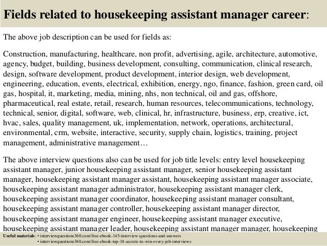 Top  Housekeeping Assistant Manager Interview Questions And Answers