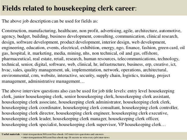 Top 10 housekeeping clerk interview questions and answers – Housekeeping Job Description