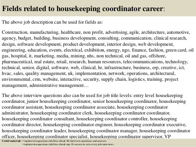17 fields related to housekeeping - Profile Title For Housekeeper