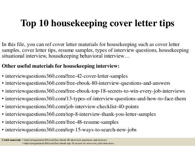 housekeeping cover letters - Sample Housekeeper Cover Letter