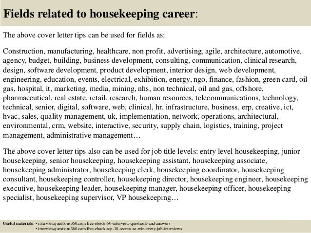 16 fields related to housekeeping career the above cover letter