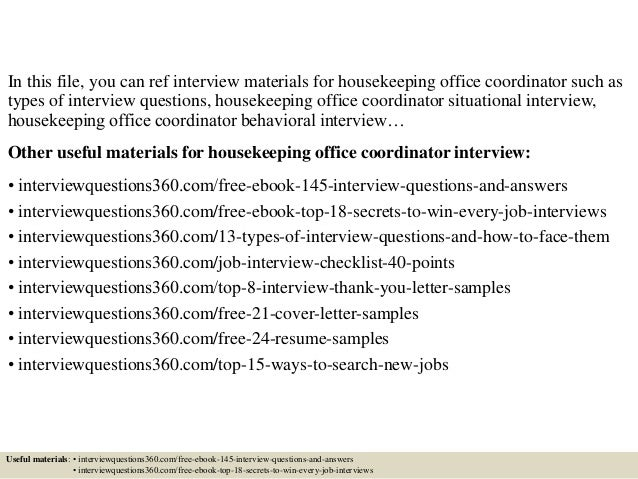 top 10 housekeeping office coordinator interview questions and answers