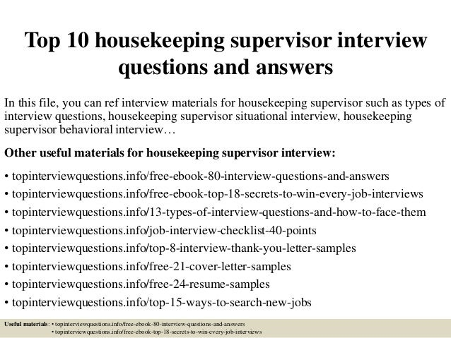 top10housekeepingsupervisor interviewquestionsandanswers1638jpgcb 1428283367 – Housekeeping Supervisor Salary