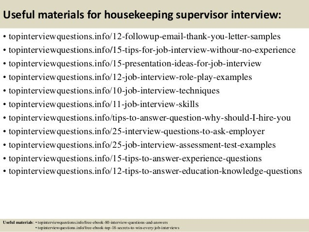Top 10 housekeeping supervisor interview questions and answers
