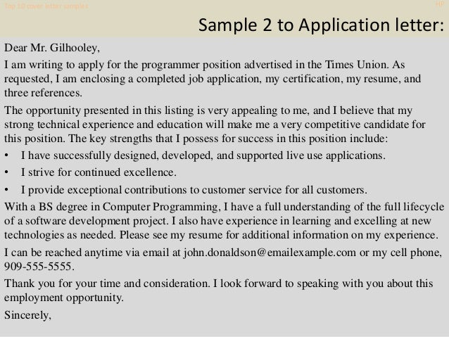 Top 10 hp cover letter samples