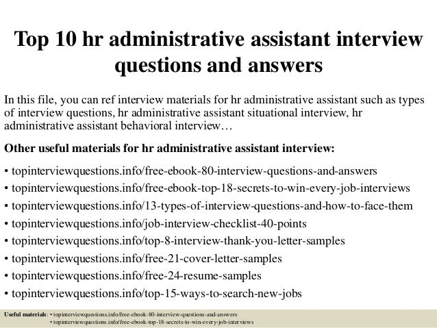 Delightful Top 10 Hr Administrative Assistant Interview Questions And Answers In This  File, ... Regard To Administrative Assistant Interview Questions