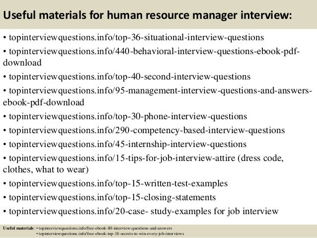 Top 10 Human Resource Manager Interview Questions And Answers
