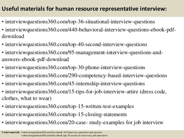 Top 10 human resource representative interview questions and answers 13 useful materials for human resource fandeluxe Gallery
