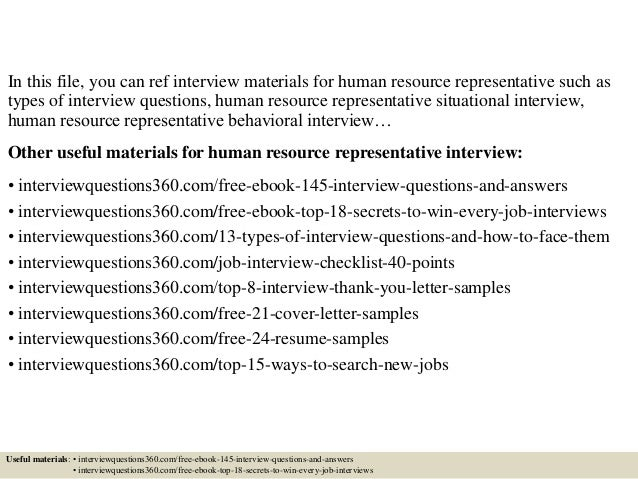 Top 10 human resource representative interview questions and answers 2 in this file you can ref interview materials for human resource representative spiritdancerdesigns Images