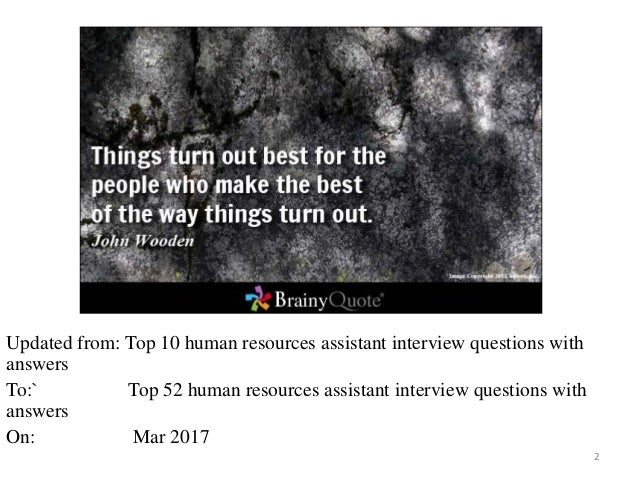 Top 52 human resources assistant interview questions and answers pdf