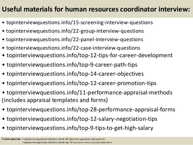 15 useful materials for human resources coordinator interview - Hr Coordinator Interview Questions And Answers