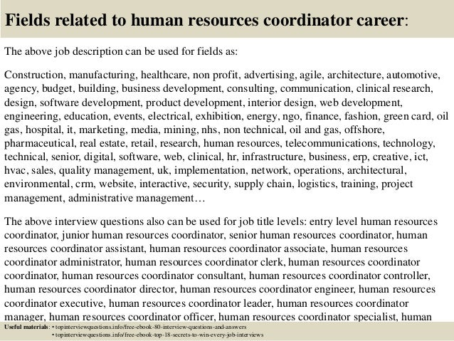 Top  Human Resources Coordinator Interview Questions And Answers