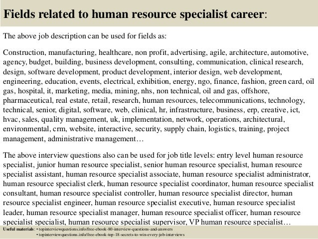 Top 10 Human Resource Specialist Interview Questions And