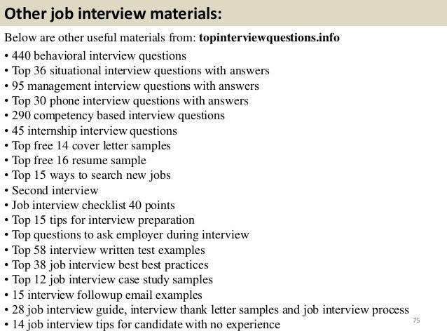 Good ... 75. Other Job Interview ...