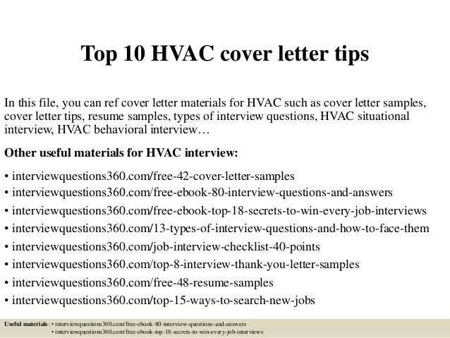 Top 10 HVAC Cover Letter Tips In This File You Can Ref Materials