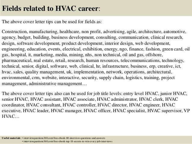 16 fields related to hvac career the above cover letter sample hvac cover letter