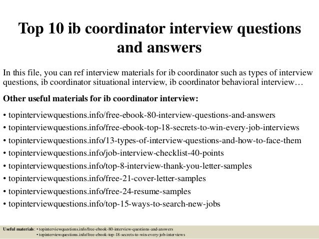 top 10 ib coordinator interview questions and answers