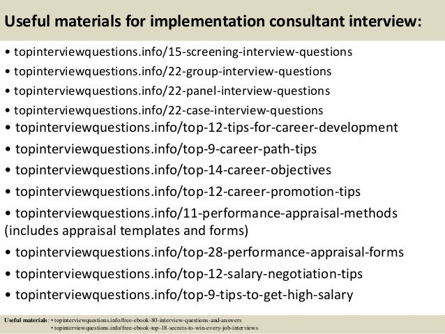 Top 10 implementation consultant interview questions and answers