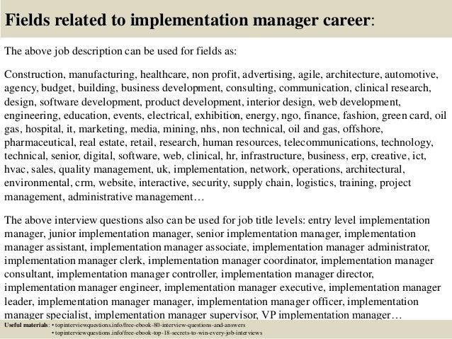 best implementation manager job description images resume