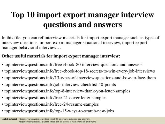 Top 10 Import Export Manager Interview Questions And Answers