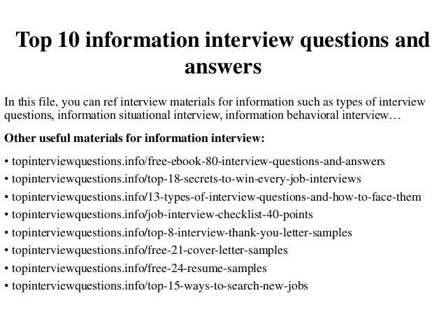 information interview questions to ask