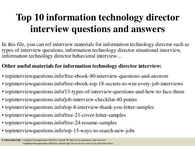 top 10 information technology director interview questions