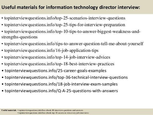 Top 10 information technology director interview questions and answers