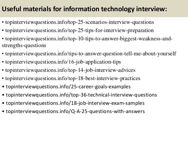 Top 10 information technology interview questions and answers