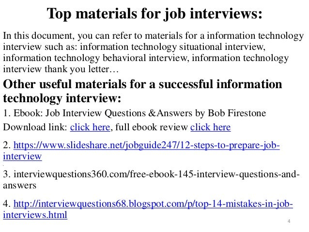 ... Tips To Prepare For Information Technology Interview; 4.