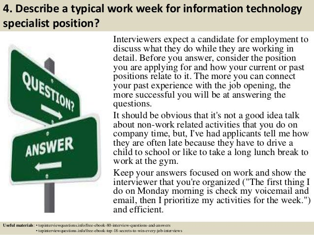 Top 10 information technology specialist interview questions and answ…